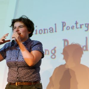 Megan Beech performs at National Poetry Day Live